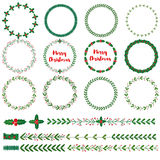 Set of New year, Christmas doodle hand drawn floral wreath frames Royalty Free Stock Photography