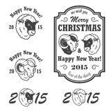 Set of new year and christmas emblems. Monochrom isolated with sheep and ram Royalty Free Stock Photography
