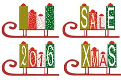 Set of New Year and Christmas gifts vector. 4 types of boxes with gifts in 2016, gift, sale, christmas stock illustration
