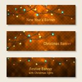 Set of New Year and Christmas glowing banners. Website header template with realistic festive decoration royalty free illustration
