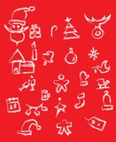 Set of New Year and Christmas grunge icons. Vector image Royalty Free Stock Photos