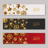 Set of New Year 2017 or Christmas horizontal banners with gold stars and snowflakes. Holiday golden background. Design poster, flyer, party invitation, web Vector Illustration