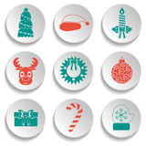 Set of New Year and Christmas icons. Flat design. Green and red. Vector Stock Photography