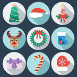 Set of New Year and Christmas icons. Flat design.  Royalty Free Stock Photo