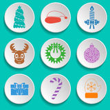 Set of New Year and Christmas icons. Flat design. Multicolored. Vector Stock Image
