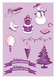 Set of New Year and Christmas items.  Stock Photography