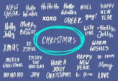 Set of New Year and Christmas phrases and words. Collection of hand drawn lettering. Vector illustration. Set of New Year and Christmas phrases and words vector illustration