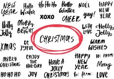 Set of New Year and Christmas phrases and words. Collection of hand drawn lettering. Vector illustration. Set of New Year and Christmas phrases and words royalty free illustration