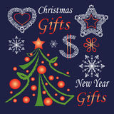 Set of New Year and Christmas symbols Royalty Free Stock Images