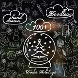 Set of New Year, Christmas and winter doodles. Royalty Free Stock Photos