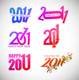 Set of new year design. Set of new year 2011 in colorful background design. Vector illustration Royalty Free Stock Photo