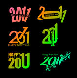 Set of new year design. Set of new year 2011 in colorful background design. Vector illustration Stock Image