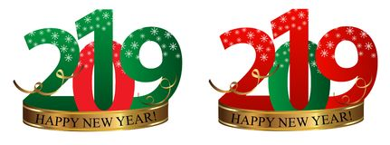 Set New Year Digits 2019 with snowflakes and golden ribbon isolated on white background. Vector. Illustration stock illustration