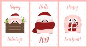 Set of New Year 2019 gift cards with pink pigs vector illustration