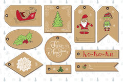 Set of New Year gift tags vector template. Hand drawn Sketch elements with Lettering set. Present cards design of happy new year 2016. Doodles and festive Royalty Free Stock Image