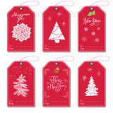 Set of New Year gift tags vector template, Hand drawn Sketch elements with Lettering set. Present cards design of happy new year 2 Stock Photography