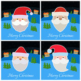 Set of New Year greeting card with Santa Claus on dark blue background. With snowflakes stock illustration