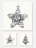 Set New Year Greeting Cards, lettering design. Vector illustration, black letters isolated on white background with golden stars. 365 new chances, merry and stock illustration