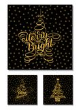 Set New Year Greeting Cards, lettering design. Vector illustration isolated on black background with golden stars and letters. 365. New chances, merry and Royalty Free Stock Photo