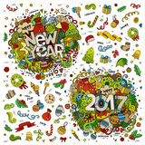 Set of 2017 and New Year hand lettering and doodles elements Stock Photo
