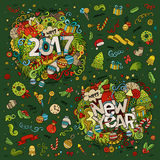 Set of 2017 and New Year hand lettering and doodles elements Stock Photos