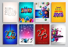 Set of 2015 New Year and Happy Christmas background Royalty Free Stock Image