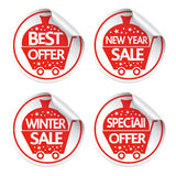 Set of New Year Holiday stickers sale vector Royalty Free Stock Images
