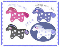 Set of New Year horses Stock Photo