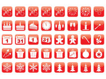 Set of New Year icons. Set of red New Year icons Royalty Free Stock Images