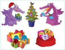 Set of new-year images. Two cute dragons decorate a fir-tree. Presents. Sack with presents royalty free illustration