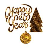 Set of the New Year. The inscription of a happy new year. The icon of a Christmas tree, the icon of a Christmas ball with golden sparkles Stock Photos