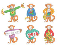 Set of  new year monkey Stock Image
