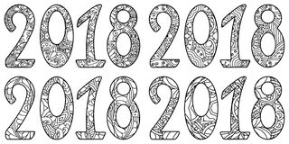 Set of new year numbers 2018 with ornament. Royalty Free Stock Images