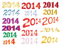 Set of new year 2014 numbers. Over white Royalty Free Stock Photos