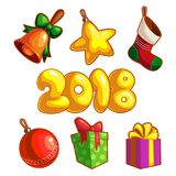 Set of New Year Ornaments Stock Photo