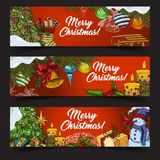 Horizontal banners for 2018 new year and xmas. Set of 2018 new year posters or merry christmas greetings card. Gifts in boxes and snowman, fir-tree and candle Stock Photos