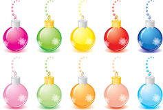 Set of New Year's balls. Beautiful set of multi-coloured New Year's balls, isolated on a white background. Decorated with snowflakes and a beads Stock Photography
