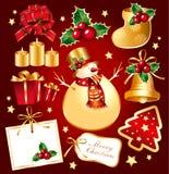 Set New Year's, christmas symbols and elemnts. Royalty Free Stock Photo