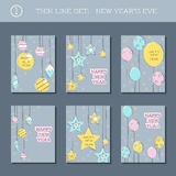 Set of New Year`s Eve backgrounds Stock Photo