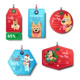 Set Of New Year Sale Tags Decorated With Dogs On White Background Isolated. Flat Vector Illustration Stock Image