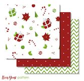 Set of New Year 2019 seamless patterns with red and green christmas decorations vector illustration
