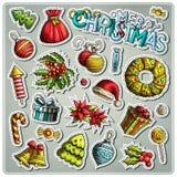 Set of New Year season cartoon stickers Stock Photos