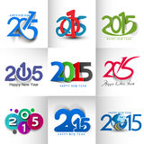 Set of New Year 2015. Text Design Royalty Free Stock Photos