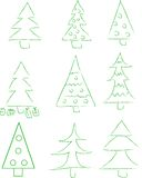 Set of 9 new-year tree Royalty Free Stock Image