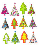 Set of new year trees Stock Photography