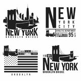 Set of New York, Brooklyn Bridge typography for t-shirt print. Stylized Brooklyn Bridge silhouettes. Tee shirt graphic. T-shirt design. Vector Royalty Free Stock Photos