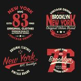 Set of New York, Brooklyn vintage brand graphic for t-shirt. Original clothes design with grunge. Authentic apparel typography. Retro sportswear print. Vector royalty free illustration
