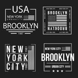 Set of New York City, Brooklyn typography for t-shirt print. American flag in white color. T-shirt graphics. Vector Royalty Free Stock Photo