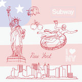 Set of New York symbols Royalty Free Stock Photos