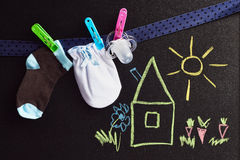Set for newborn baby with  a  Blackboard Stock Image